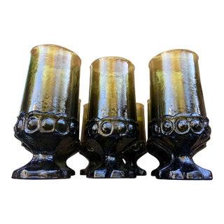 Mid Century Avocado Green Water Goblets - 10 Pieces