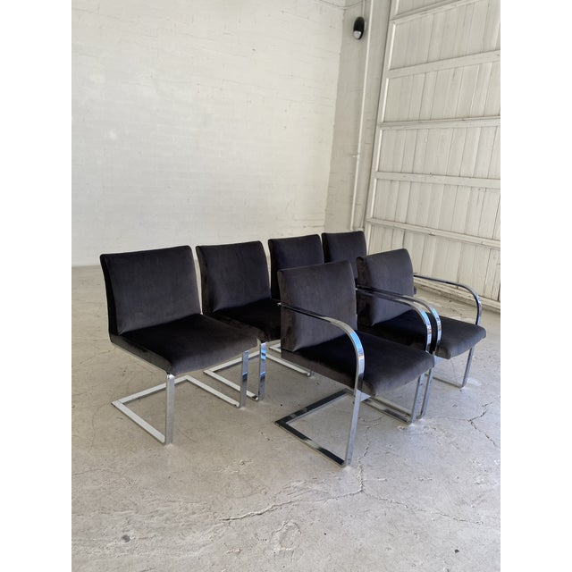 Mid-Century Modern Charcoal Velvet and Chrome Cantilever Chairs - Set of 6 For Sale - Image 9 of 9