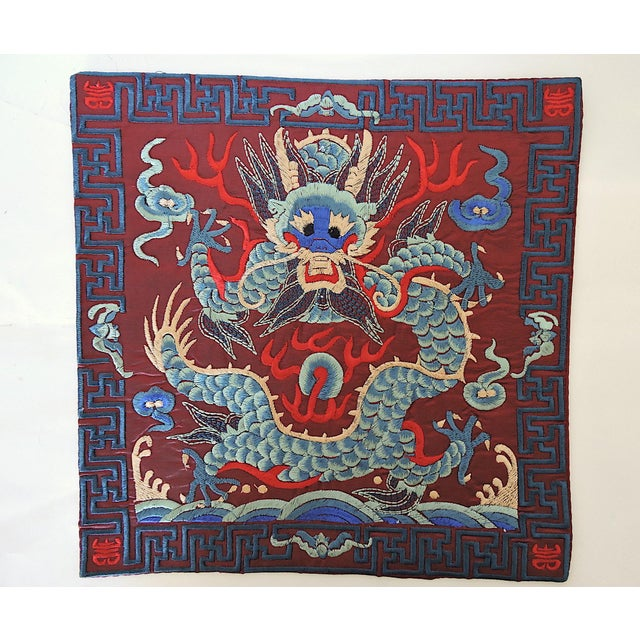 2010s Chinese Embroidered 'Blue Dragon' Table/Lamp Mat For Sale - Image 5 of 5