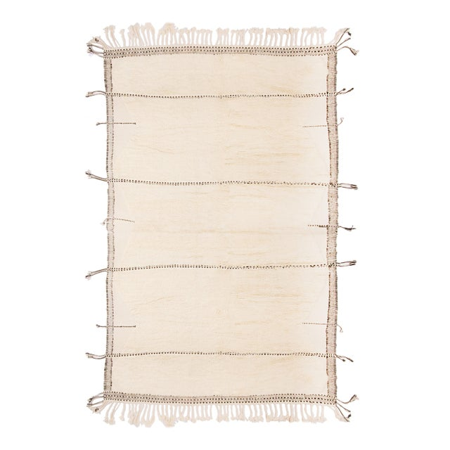 Metal Moroccan White and Black Wool Rug With Pile - 9′7″ × 13′6″ For Sale - Image 7 of 7