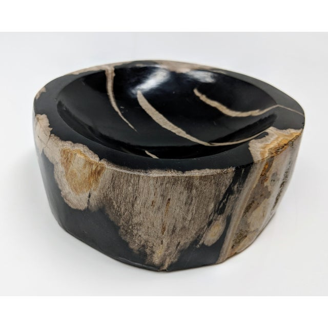 Contemporary Petrified Wood Bowl, Catchall or Candle Holder For Sale - Image 3 of 11