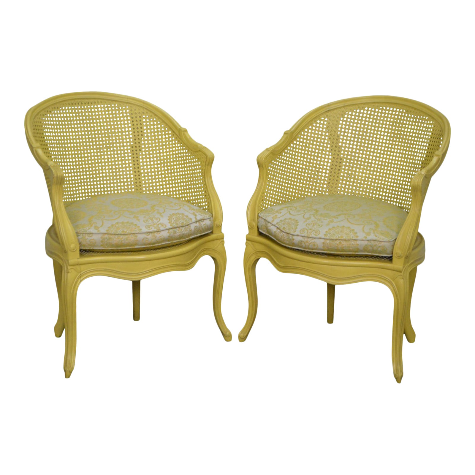 French Louis Xv Style Yellow Barrel Back Caned Bergere Arm