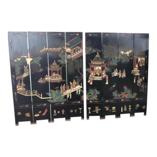 Vintage Chinese 8 Panel Coramandel Screen Room Divider For Sale