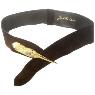 Judith Leiber Bird Buckle Brown Suede Belt Circa 1980s For Sale