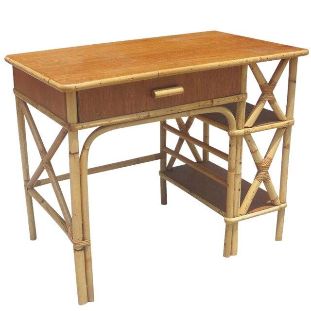 Restored Rattan & Mahogany Secretary Desk With Side Shelf - Image 1 of 8