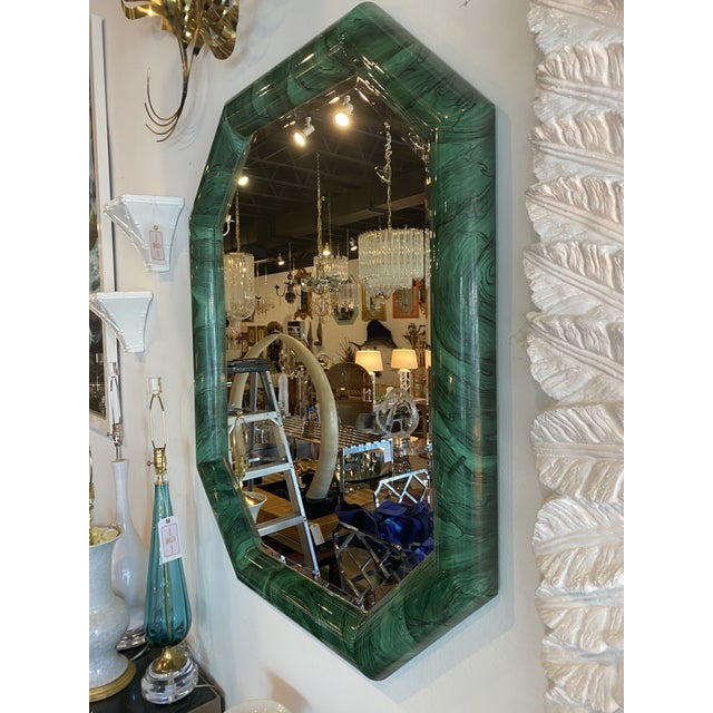 Vintage Large Green Faux Malachite Vertical or Horizontal Octagon Wall Mirror For Sale - Image 10 of 13