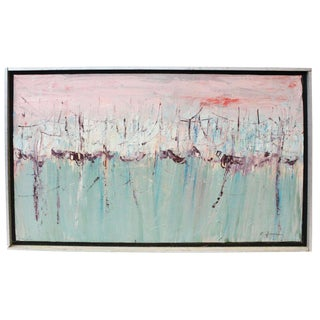 Vintage Mid-Century Kenneth Forman Holland Harbor Abstract Painting For Sale