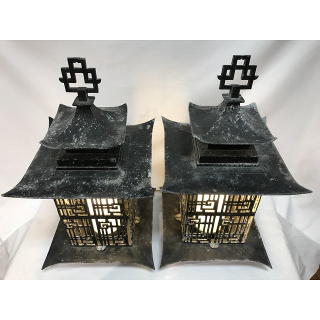 Underwriters Laboratories Asian Pagoda Outdoor Metal Chinese Lattice Patterns Wall Sconces- a Pair For Sale - Image 4 of 10
