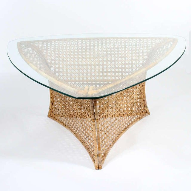 Mid-Century Modern Danny Ho Fong Cane Triangular Shaped Dining Table For Sale - Image 3 of 10