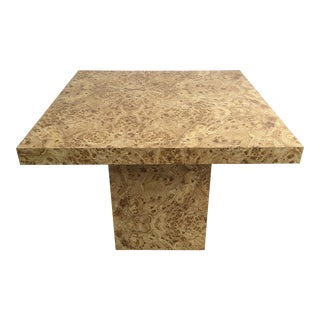 Modern Faux Burl Wood Dining Pedestal Table