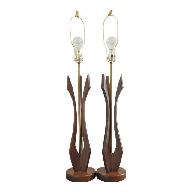 Sculptured Walnut Mid-Century Lamps - A Pair - Image 1 of 5