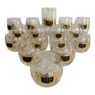 Roly Poly Gold Barware 'Vip' Glasses and Pitcher - Set of 16 For Sale