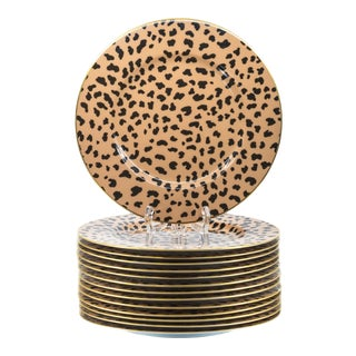 Late 20th Century Eschenbach for Tiffany Leopard Spot Service or Dinner Plates - Set of 14 For Sale
