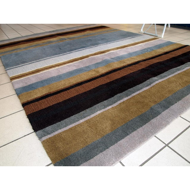 Tribal 1980s handmade vintage Indian Modern rug 5.6' x 7.9' For Sale - Image 3 of 10