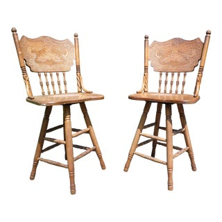 Vintage Pair Solid Oak Press Back & Spindle Swivel Counter Bar Stools For Sale