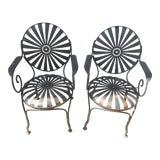 Image of 1940s Francois Carre French Art Deco Iron Sunburst Garden Side Chairs- a Pair For Sale