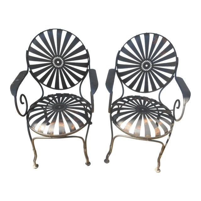 1940s Francois Carre French Art Deco Iron Sunburst Garden Side Chairs- a Pair For Sale