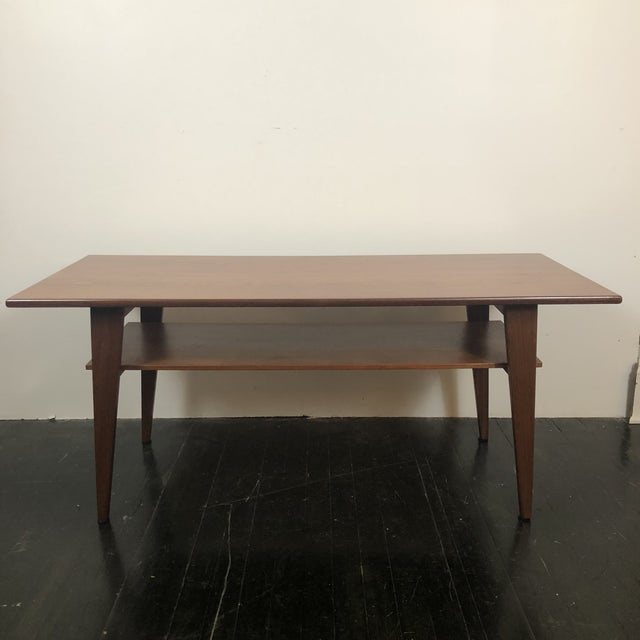 1960s Solid Walnut Danish Modern Rectangular Coffee Table with lower magazine shelf. Completely restored professionally...