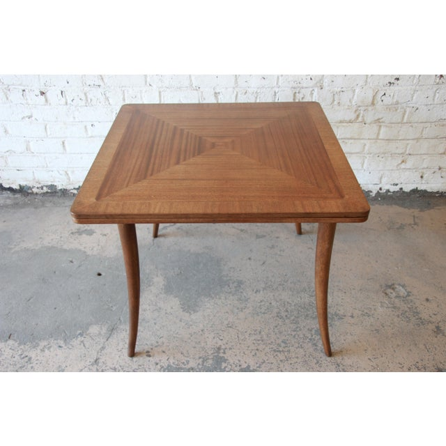 Contemporary Harvey Probber Mid-Century Modern Bleached Mahogany Saber Leg Flip Top Extension Dining or Game Table For Sale - Image 3 of 10