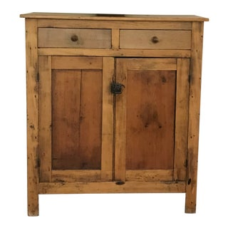 19th Century Antique Pine Cabinet With Dove-Tail Joints; Two Top Drawers and 3 Interior Shelves