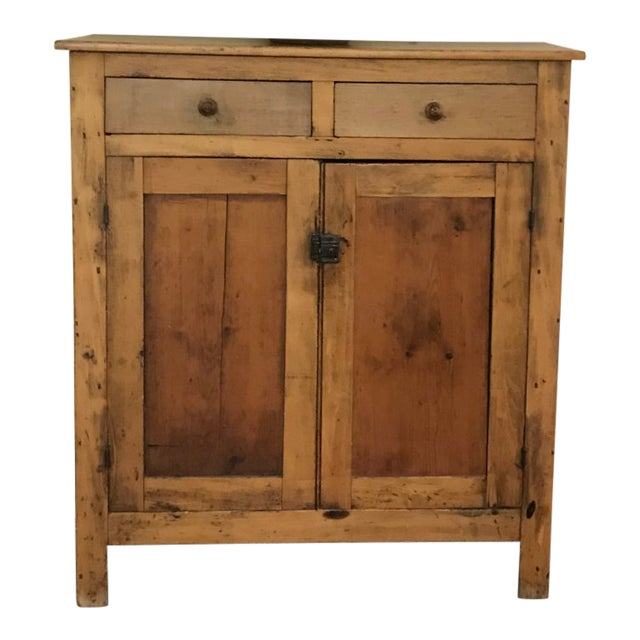 19th Century Antique Pine Cabinet With Dove-Tail Joints; Two Top Drawers  and 3 Interior Shelves - 19th Century Antique Pine Cabinet With Dove-Tail Joints; Two Top