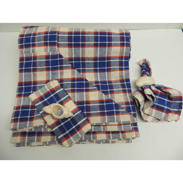 Vintage Picnic Wicker Basket with Blanket and Serving Set - Image 3 of 5