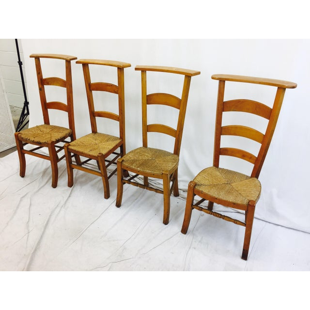 Antique Wooden Shaker Style School Chairs - Set of 4 For Sale - Image 5 of - Antique Wooden Shaker Style School Chairs - Set Of 4 Chairish