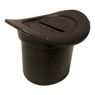 19th Century Antique Top Hat Cast Iron Still Bank For Sale