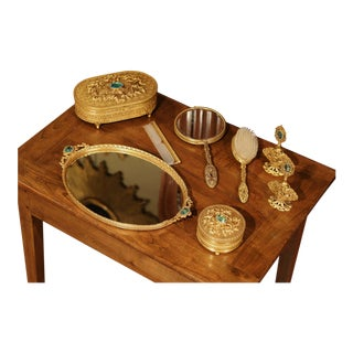 19th Century French Gilt Brass Eight-Piece Vanity Set With Cut Glass Medallions For Sale