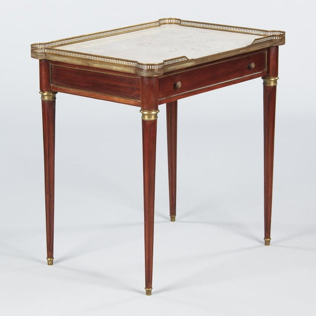 Louis XVI Style Marble-Top Rosewood Side/Serving Table, 1900s - Image 7 of 10
