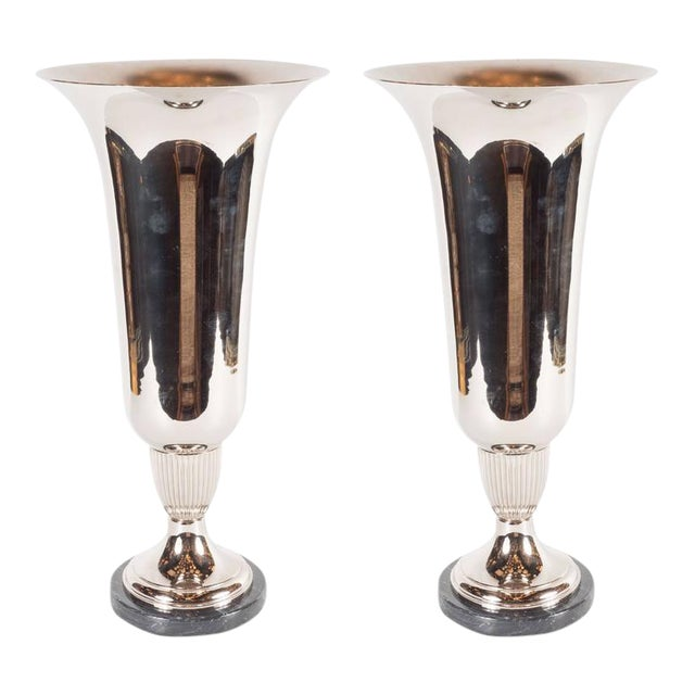 Elegant French Art Deco Marble and Chrome Uplights - Image 1 of 7