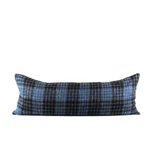 """Textile Blue Plaid Wool Lumbar Pillow 13"""" x 34"""" For Sale - Image 7 of 7"""