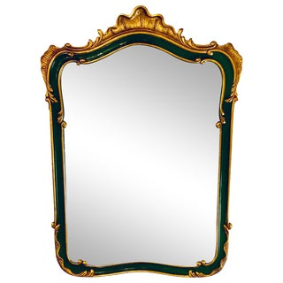 John Widdicomb Wall / Console Mirror Parcel Gilt and Decorated Shell Carved For Sale