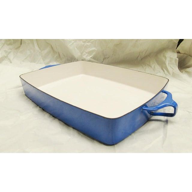 "Dansk blue enamel with white interior Kobenstyle lasagna baking pan or casserole dish. Made in France. 14.5"" long..."