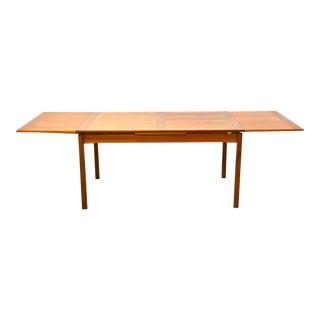 Danish Teak Draw Leaf Dining Table For Sale
