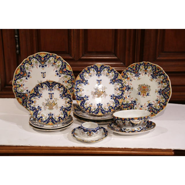 19th Century French Hand-Painted Plates and Dishes From Normandy - Set of 10 For Sale - Image 4 of 10