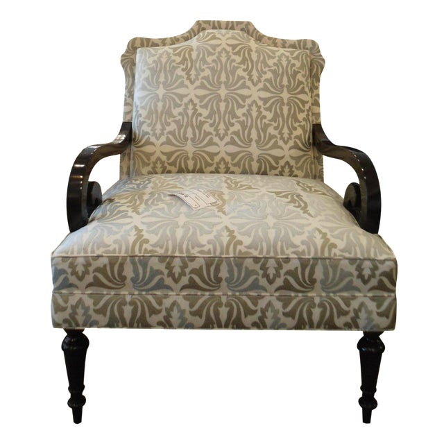 White & Silver Bergere Arm Chair - Image 1 of 10