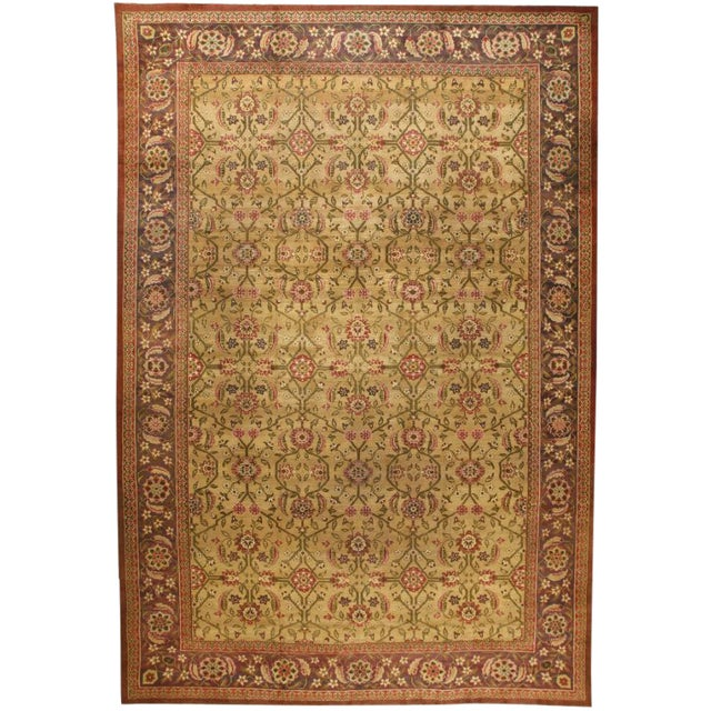 Exceptional Oversize Antique 19th Century Indian Amritsar Carpet For Sale