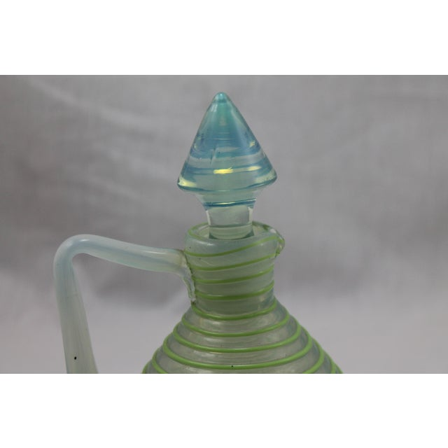 Glass Art Deco Era Frederick Carder's Steuben Opalescent Threaded Art Glass Decanter For Sale - Image 7 of 11