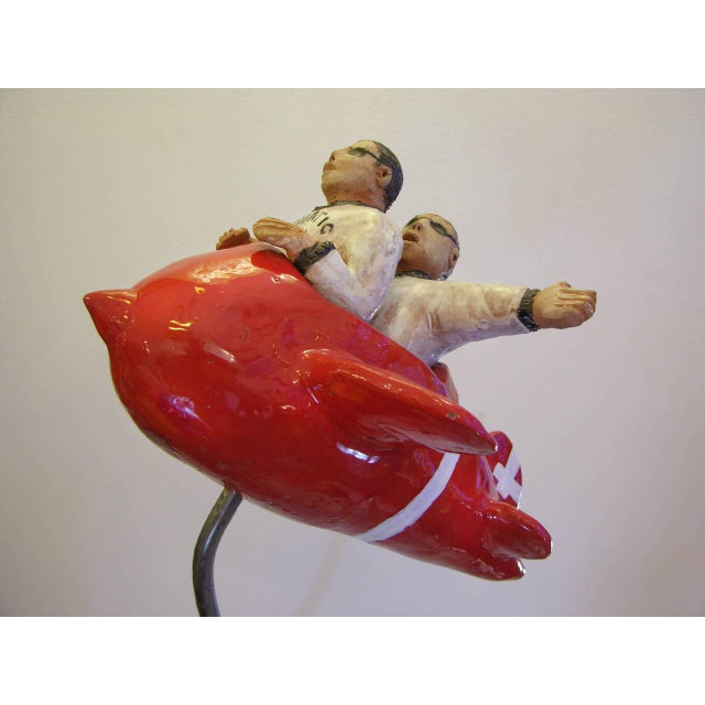 "Americana Contemporary Italian ""Flying Guys in Airplane"" Red White Sculpture by Ginestroni For Sale - Image 3 of 8"