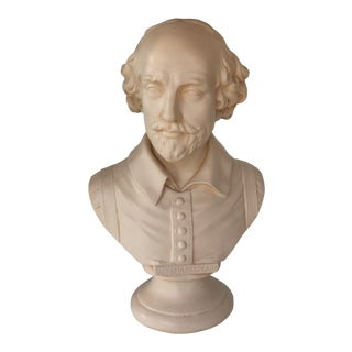 William Shakespeare Hand Painted Alexander Backer Company Bust For Sale