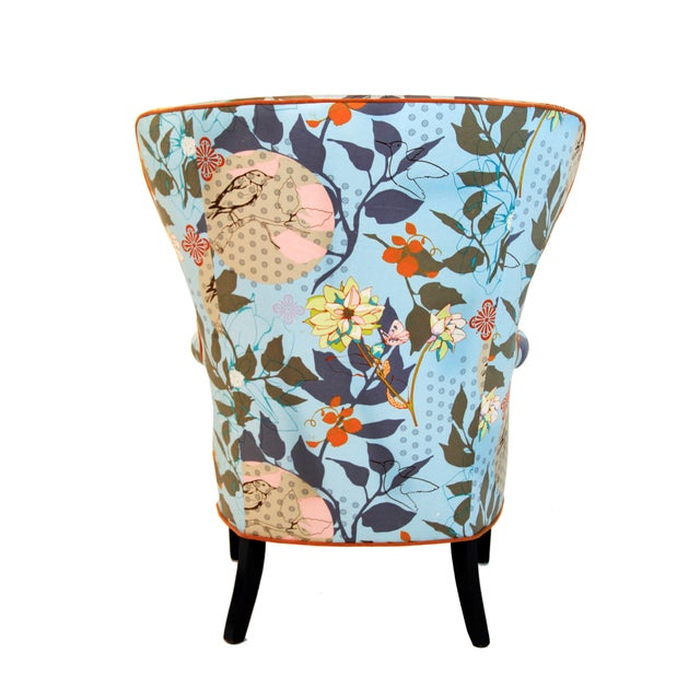 Phenomenal 1960S Vintage Baby Blue Floral Wingback Accent Chair Chairish Gamerscity Chair Design For Home Gamerscityorg