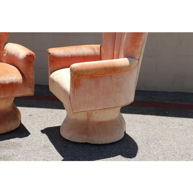 Velvet Highback Swivel Chairs - A Pair - Image 6 of 10
