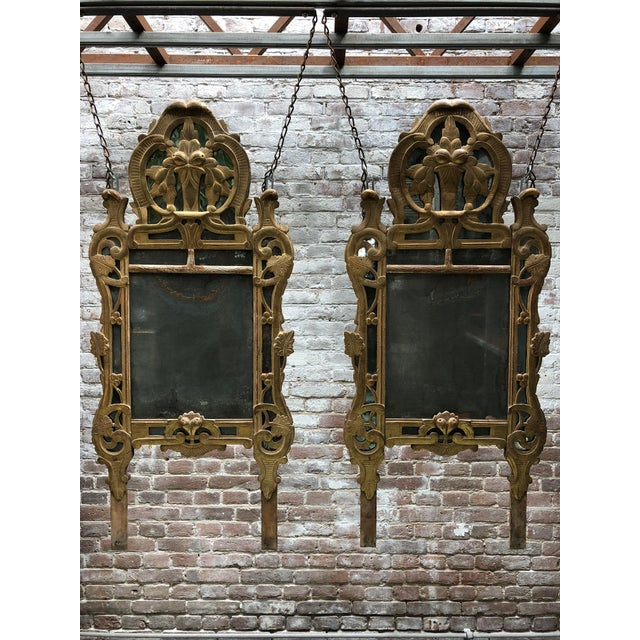 Gold 18th Century Louis XV Carved Gilt Wood Mirrors, Exceptionnel Set of Three. For Sale - Image 8 of 13