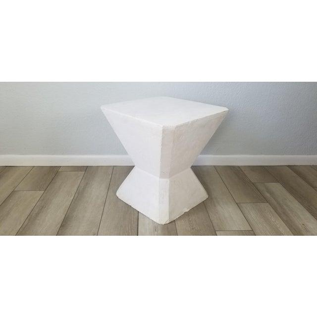 Plaster Vintage Postmodern Geometric Plaster Side Table For Sale - Image 7 of 13