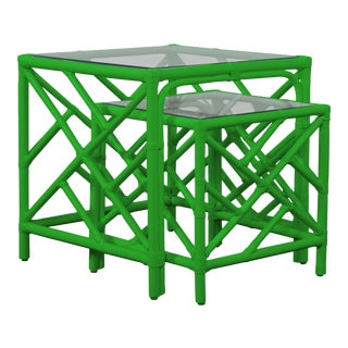 Chippendale Nesting Tables - Bright Green For Sale