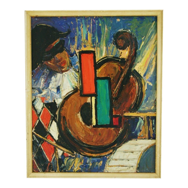 Mid-Century Harlequin & Cello Abstract Painting For Sale