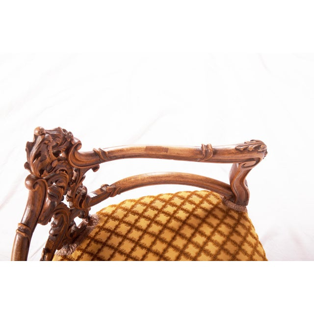 Carved Louis XV walnut corner chair, France, 1870 For Sale - Image 9 of 11