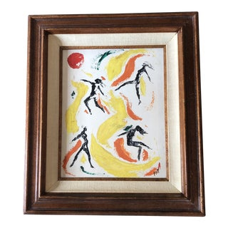 Original Vintage Female Nude Leaping Figures Abstract Painting For Sale