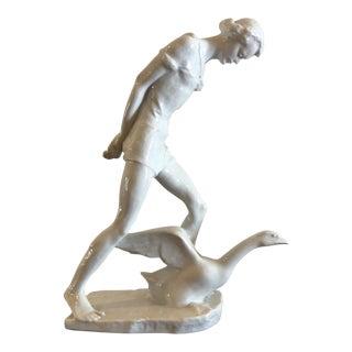 Rare Vintage Art Deco Rosenthal Porcelain Figurine of Lady & Goose - Hauenstein